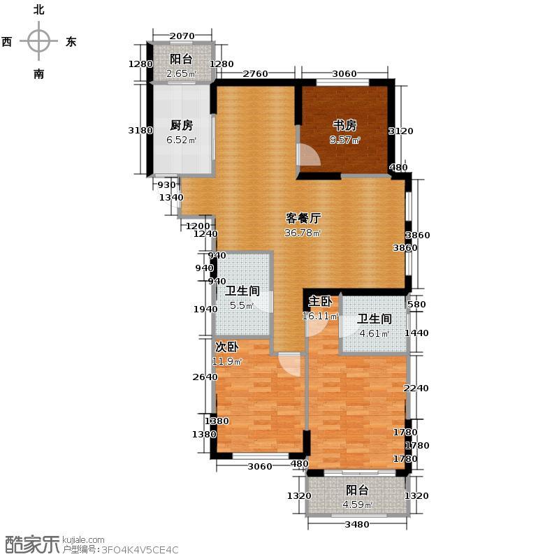 绿都金域兰庭128.00㎡二期D2户型3室1厅2卫1厨