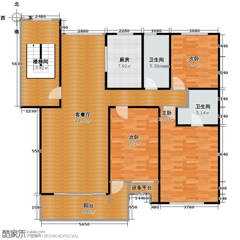 通怡花园144.07㎡户型3室1厅2卫1厨