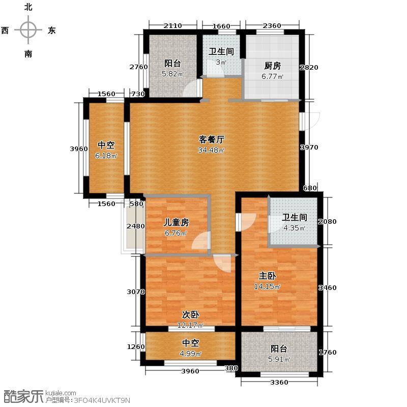 德信北海公园123.00㎡D3奇数层户型3室1厅2卫1厨