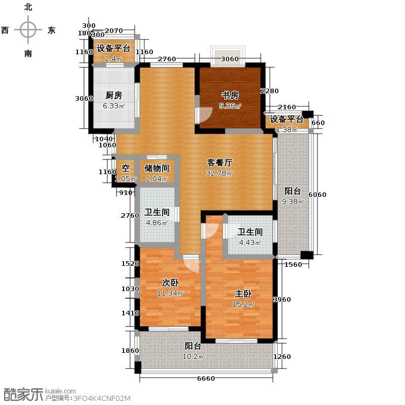 绿都金域兰庭128.00㎡二期D2-128户型3室1厅2卫1厨