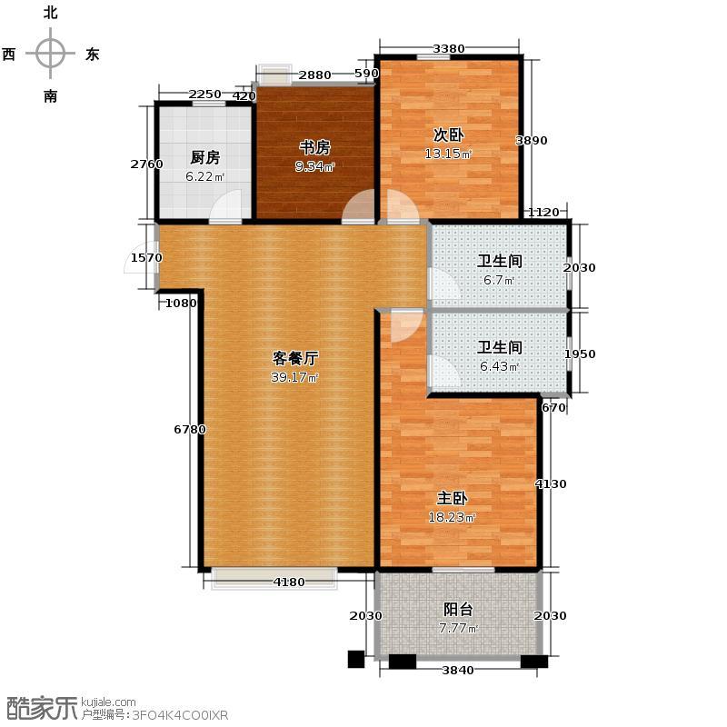 红景凯丽晶座132.00㎡D偶数层户型3室1厅2卫1厨