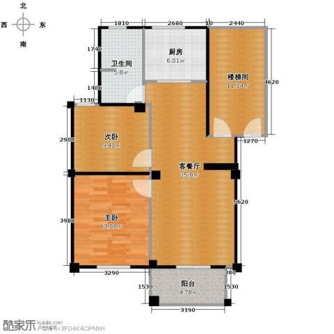 众孚水榭花都2室1厅1卫1厨90.00㎡户型图