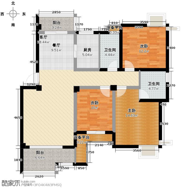 爵士风情114.98㎡户型3室1厅2卫1厨