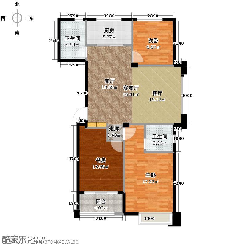 青山鹤岭121.00㎡K户型3室1厅2卫1厨