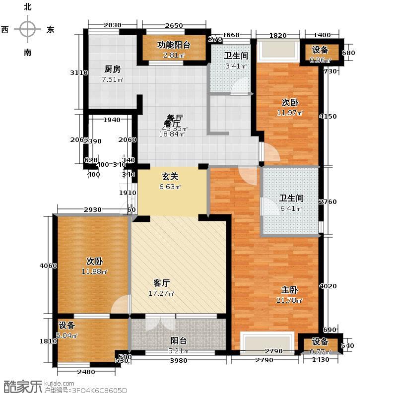 云都凤凰城136.00㎡J14和8号楼中间套户型3室2厅2卫