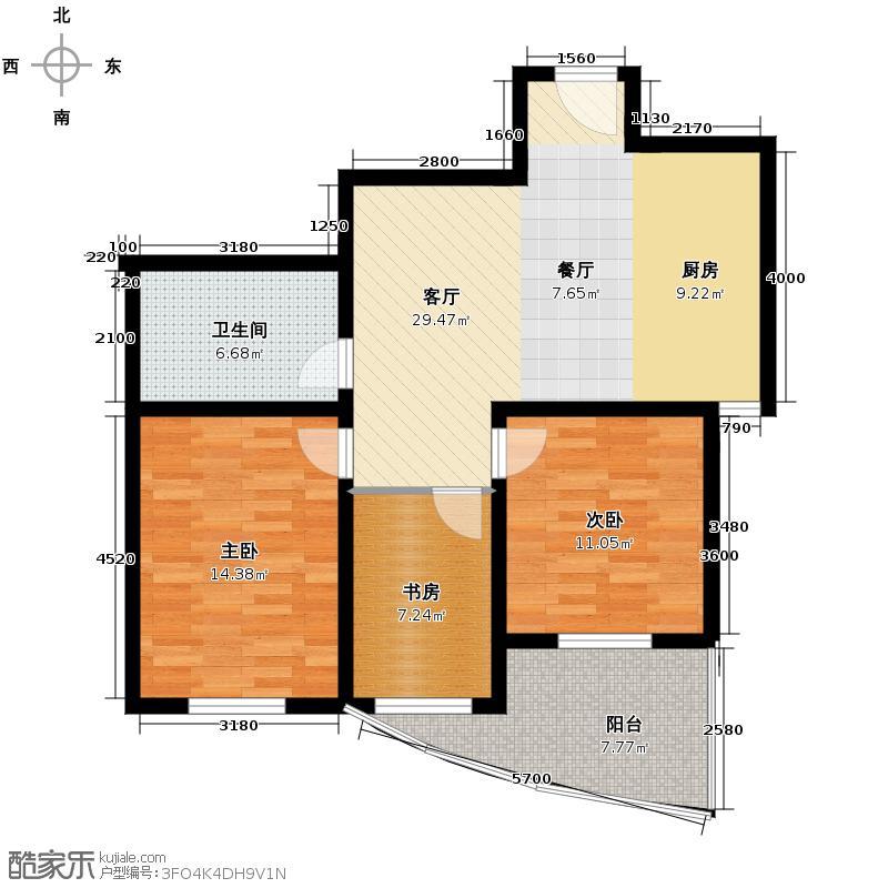 江南新港89.00㎡户型3室1厅1卫