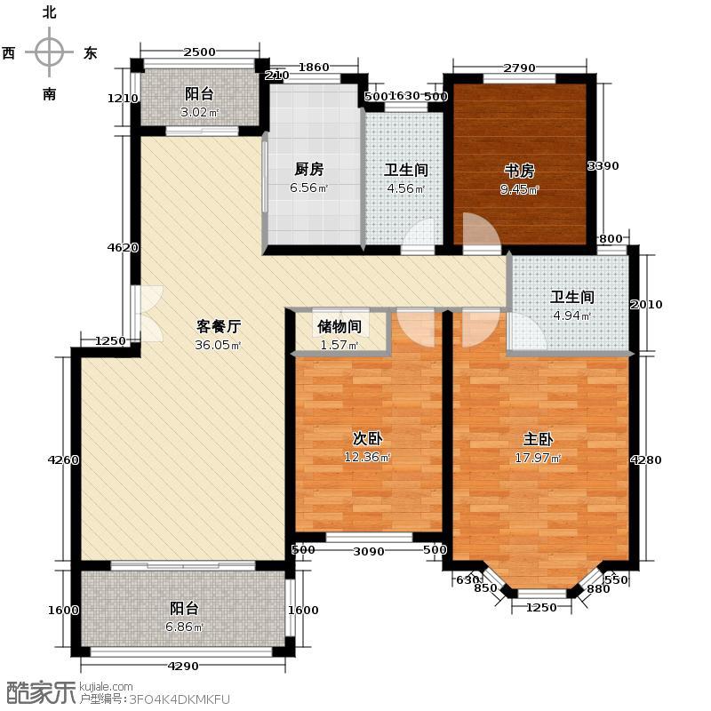 怡景花城121.00㎡户型3室1厅2卫1厨