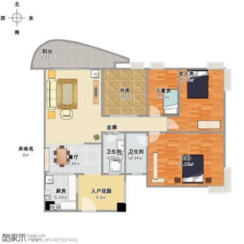 银地绿洲4室1厅2卫1厨165.00㎡户型图