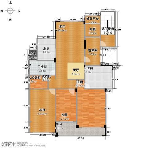 德信臻园3室1厅2卫1厨164.00㎡户型图