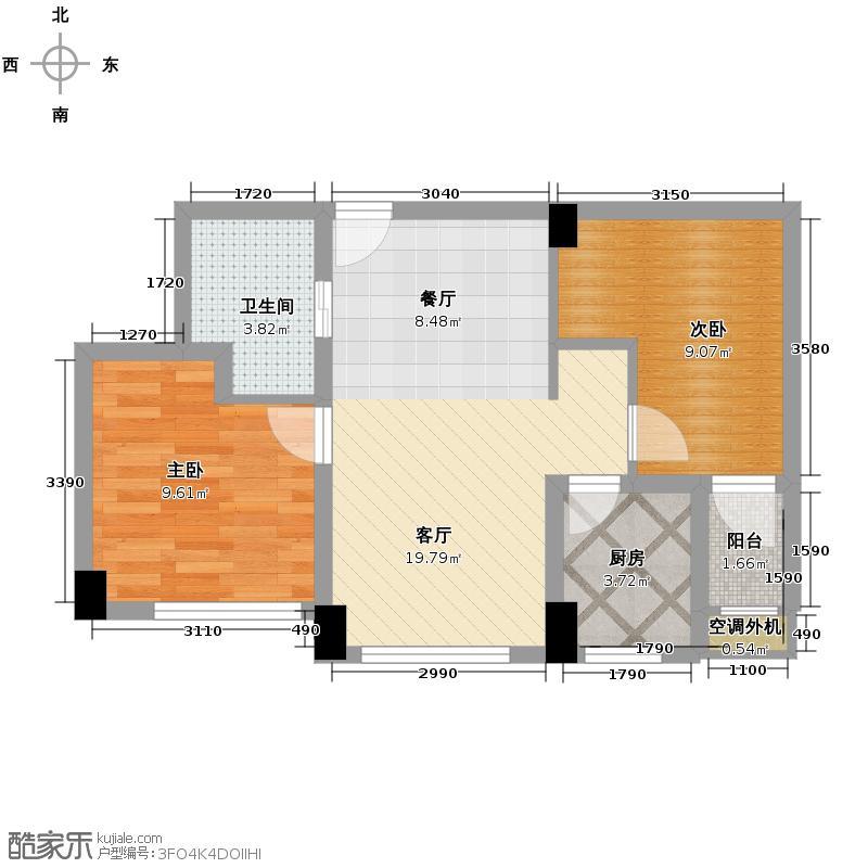 融科瑷骊山67.00㎡25号楼户型2室1厅1卫1厨