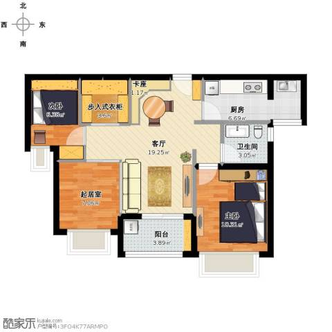 合景叠翠峰2室1厅1卫1厨88.00㎡户型图