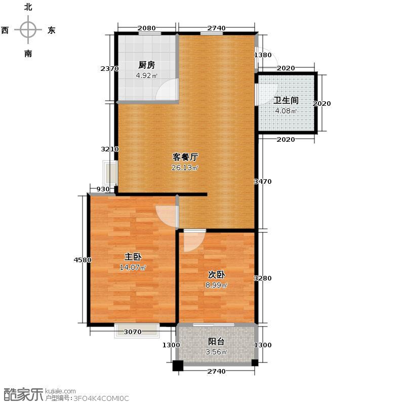 九浪山花园89.00㎡户型2室1厅1卫1厨