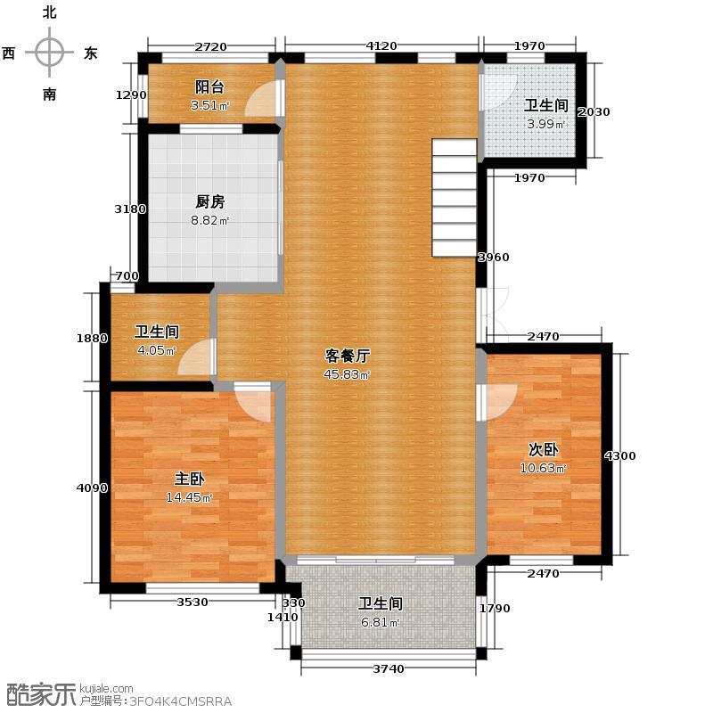 华瑞湘湖美地238.00㎡F1一层户型2室1厅3卫1厨