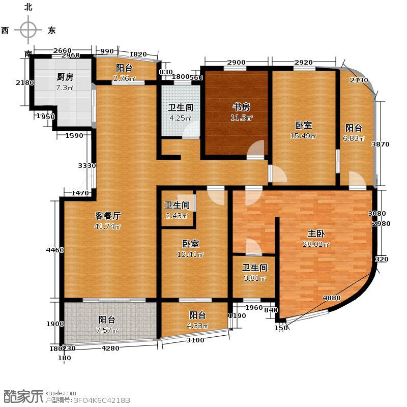 贺田尚城�湾186.00㎡H-M2户型4室2厅3卫