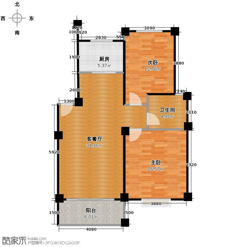 凯文和平雅苑83.46㎡户型2室1厅1卫1厨