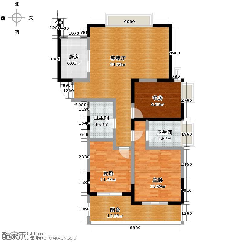 绿都金域兰庭128.00㎡二期G2-128户型3室1厅2卫1厨