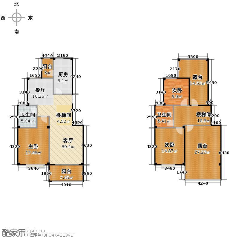 江南名苑146.02㎡A2跃层户型3室1厅2卫1厨