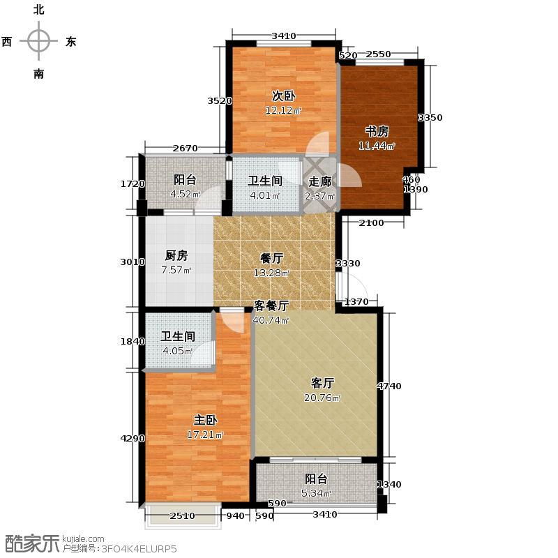 青山鹤岭127.00㎡L户型3室1厅2卫