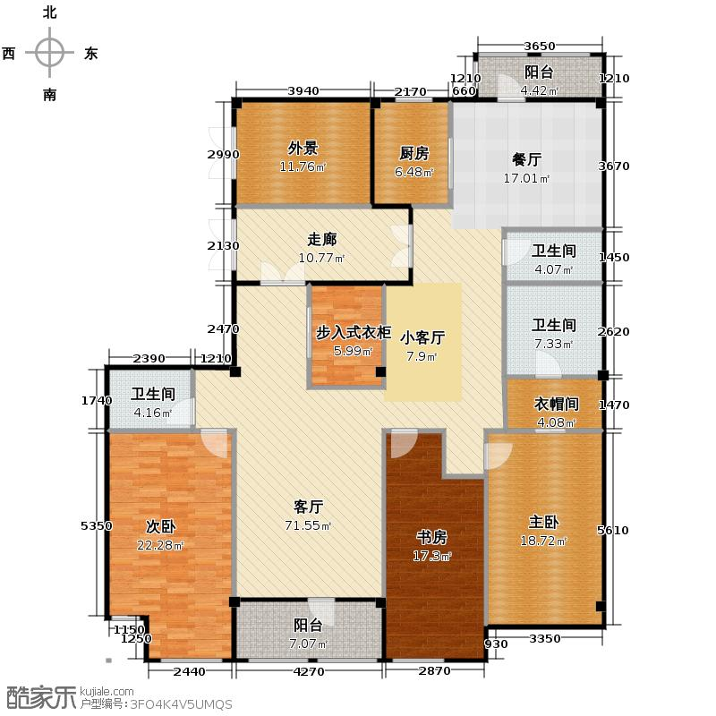 众安启航社237.00㎡一期3号楼D1户型3室1厅3卫1厨