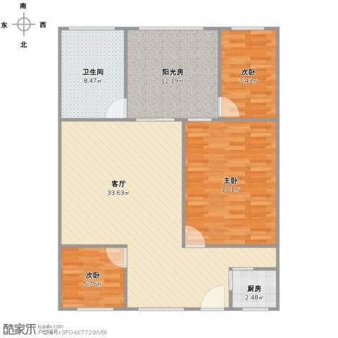 栖山路400弄小区3室1厅1卫1厨117.00㎡户型图