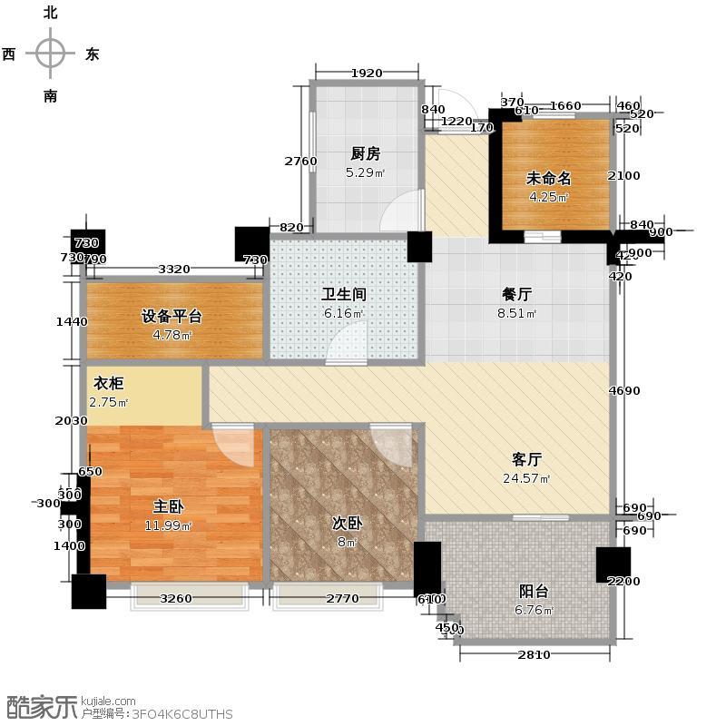 金昌春和钱塘87.00㎡B户型3室2厅1卫