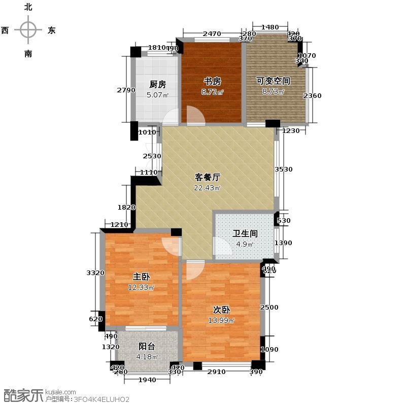 太阳城花园89.00㎡L户型3室1厅1卫1厨
