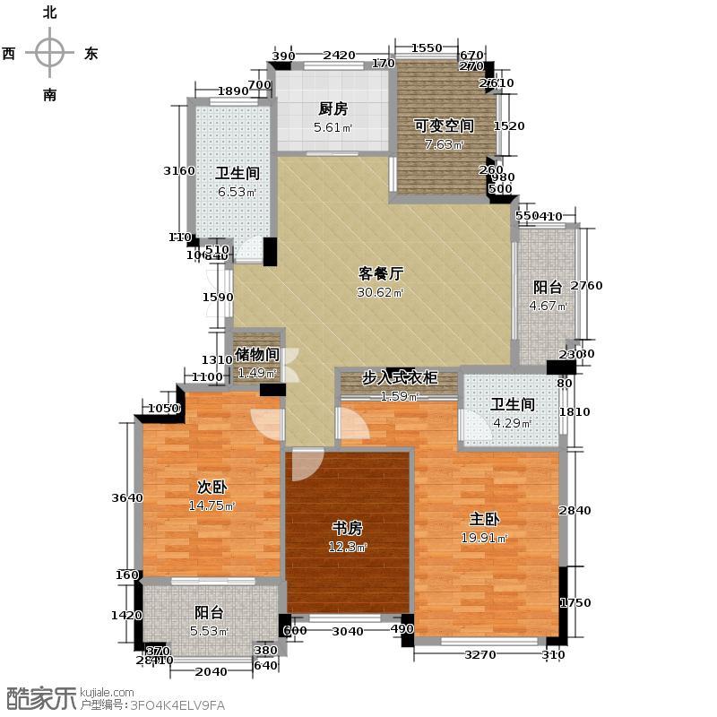 太阳城花园132.00㎡H户型3室1厅2卫1厨