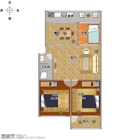 百花小区3室2厅1卫1厨115.00㎡户型图