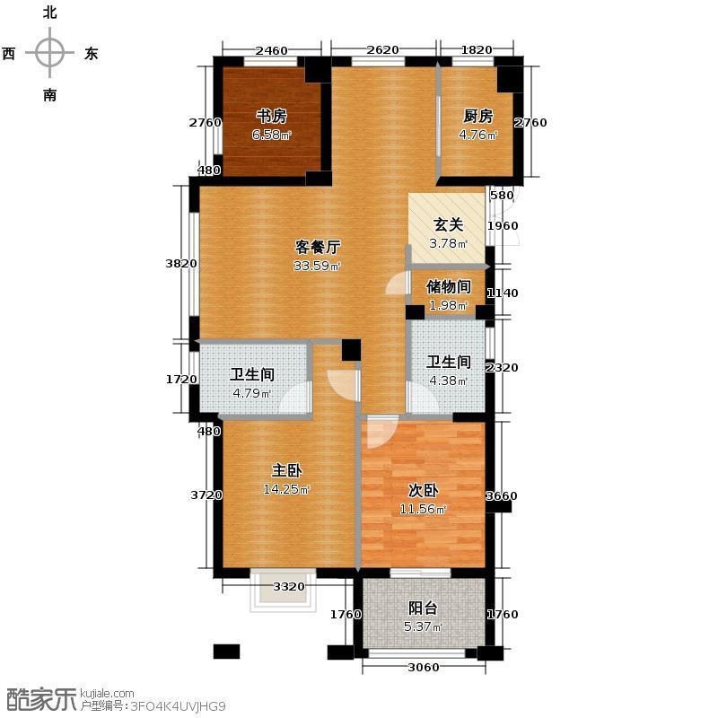 富越香郡118.00㎡A户型3室1厅2卫1厨
