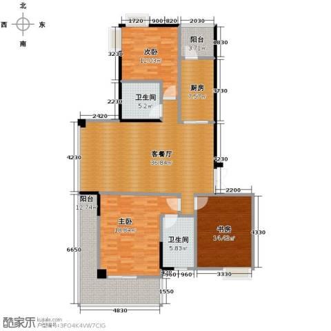 梦琴湾3室1厅2卫1厨129.72㎡户型图