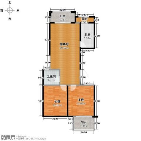 绿城翡翠湾2室1厅1卫1厨93.00㎡户型图
