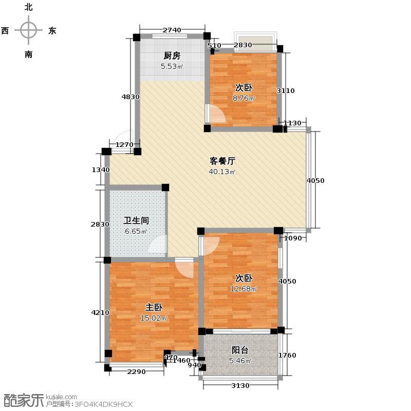 东海水漾人家108.01㎡东海・水漾人家户型3室1厅1卫