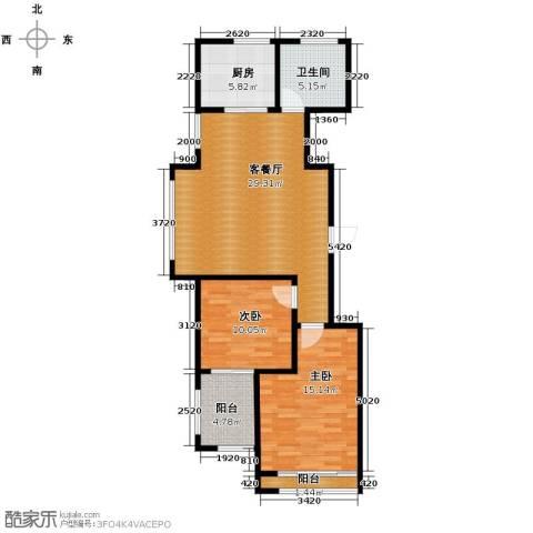 绿城翡翠湾2室1厅1卫1厨90.00㎡户型图