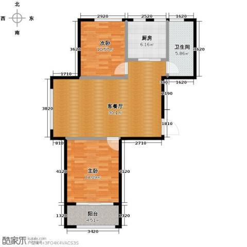 绿城翡翠湾2室1厅1卫1厨91.00㎡户型图