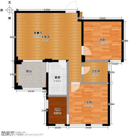 绿城翡翠湾3室0厅1卫1厨89.00㎡户型图