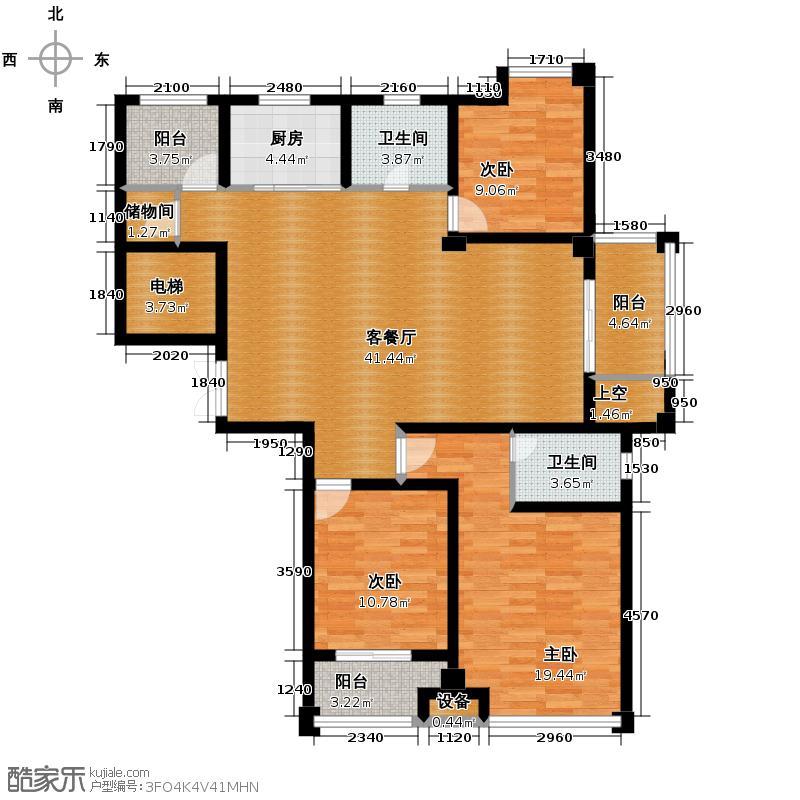 蓝色港湾135.00㎡GC7户型3室1厅2卫1厨