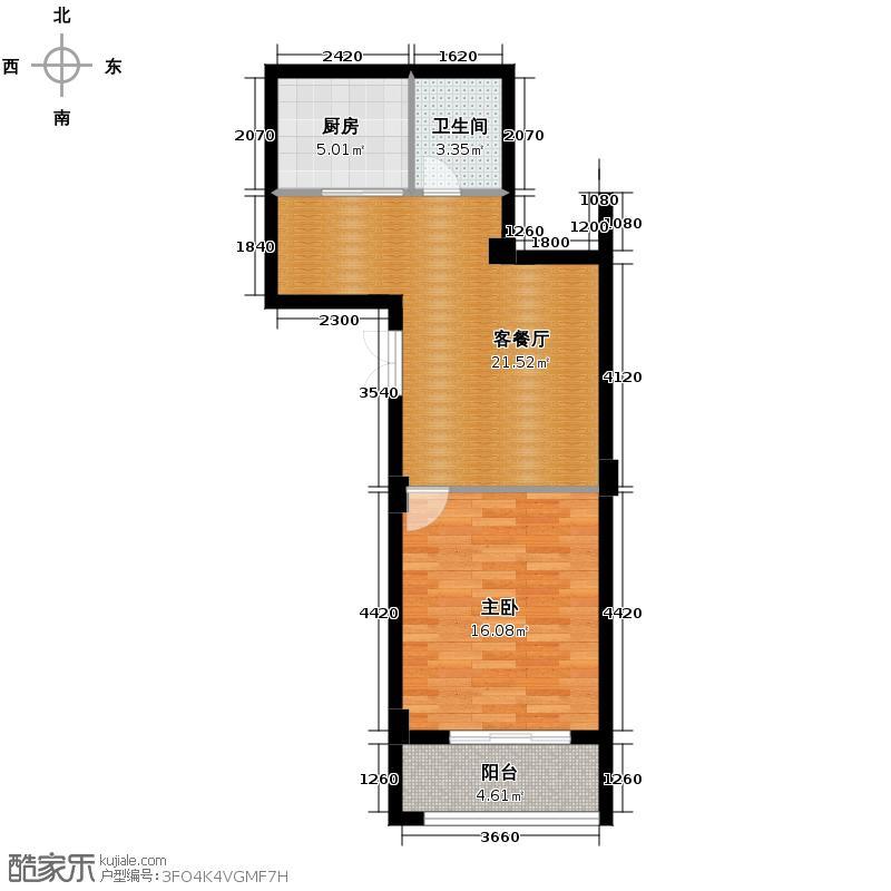 景丽华庭65.00㎡二期小高层2、3号楼中间套一层G户型1室1厅1卫1厨