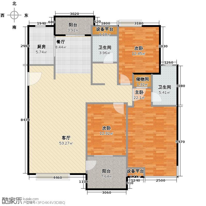 东海水景城128.40㎡户型3室1厅2卫1厨