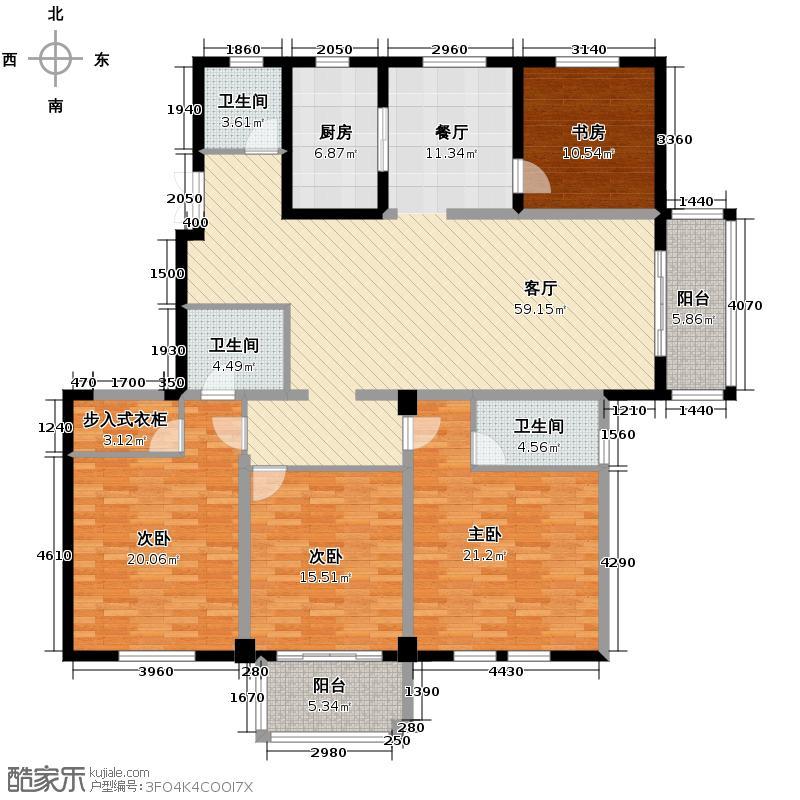 汇宇和庭226.00㎡L户型4室1厅3卫1厨