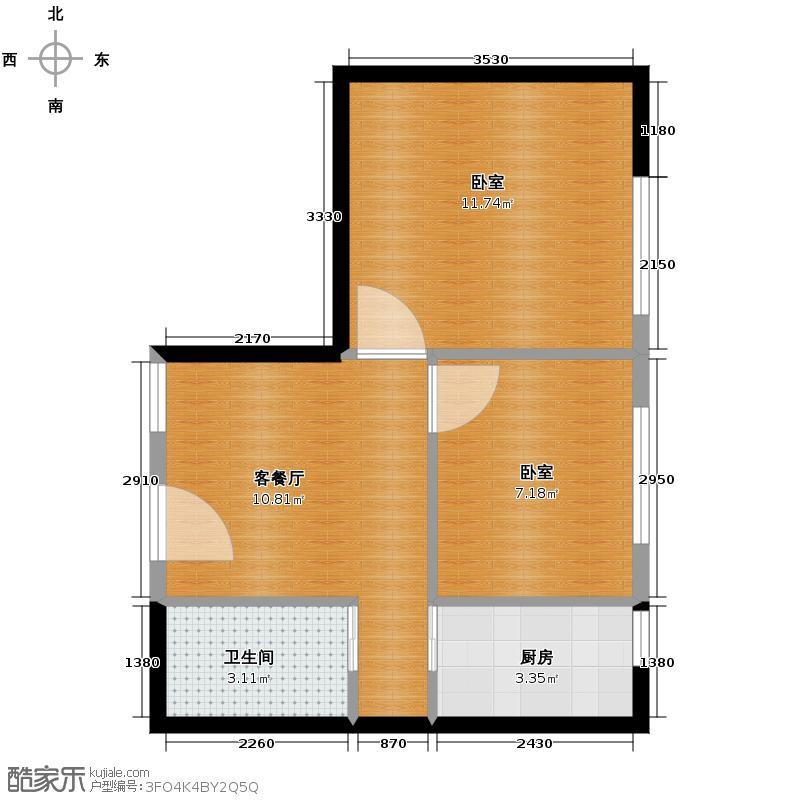 鑫湖国贸中心62.02㎡C户型1厅1卫1厨