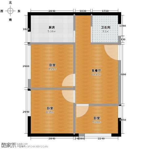 鑫湖国贸中心1厅1卫1厨75.00㎡户型图