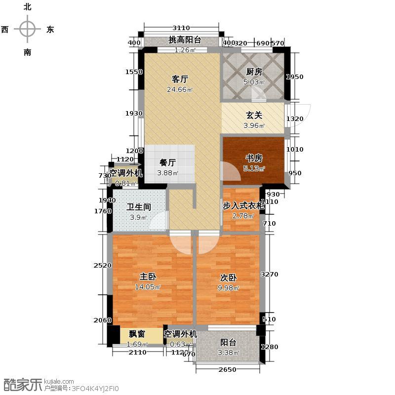 圣奥领寓89.00㎡B1户型3室1厅1卫1厨