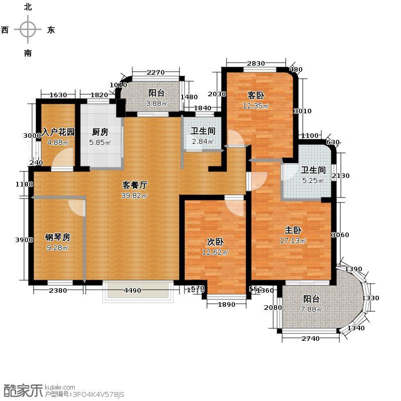 金隅观澜时代138.00㎡朗轩偶数层户型3室1厅2卫1厨