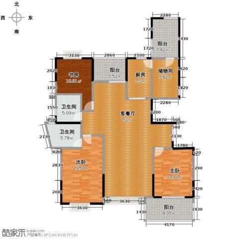 梦琴湾3室1厅2卫1厨171.00㎡户型图