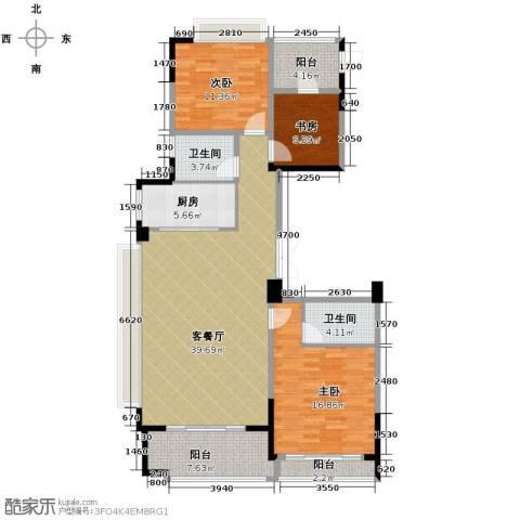 绿城玉兰花园3室1厅2卫1厨139.00㎡户型图