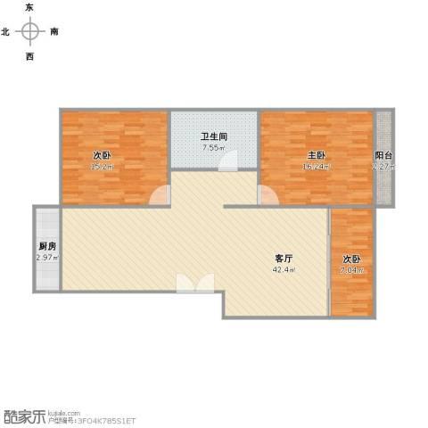 开元北小区3室1厅1卫1厨125.00㎡户型图