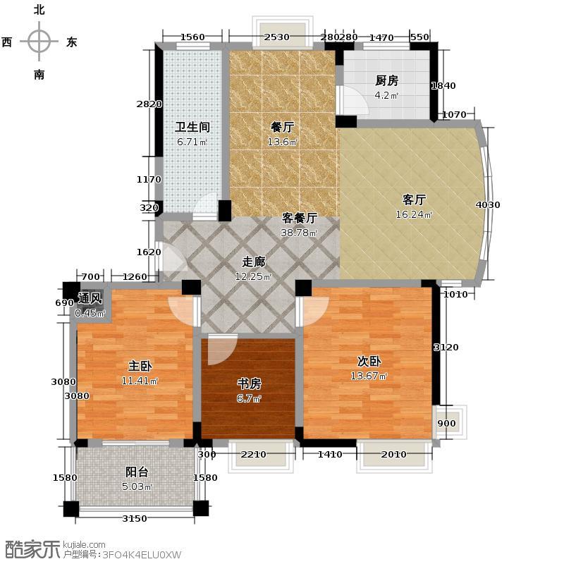太阳城花园114.69㎡户型3室1厅1卫1厨