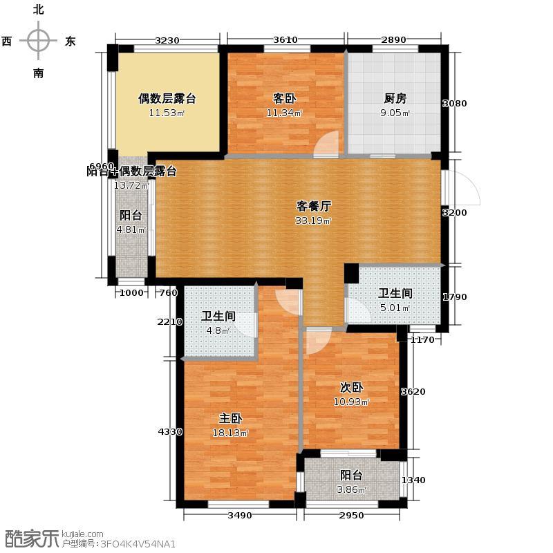 望城129.39㎡7、10号楼D-3偶数层户型3室1厅2卫1厨
