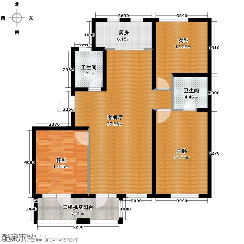 朗诗田园绿郡129.00㎡1号楼-B1户型3室1厅2卫1厨