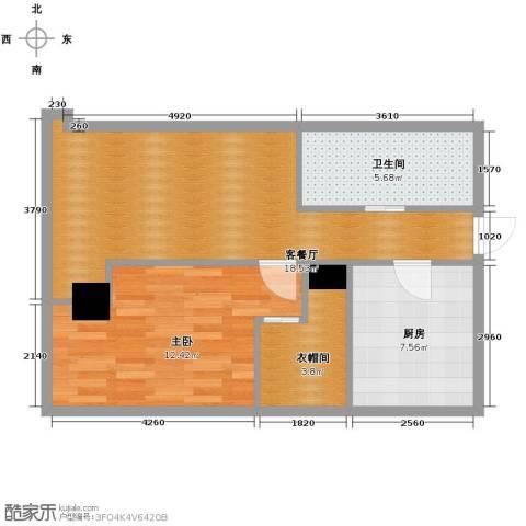 百大绿城西子国际1室1厅1卫1厨90.00㎡户型图